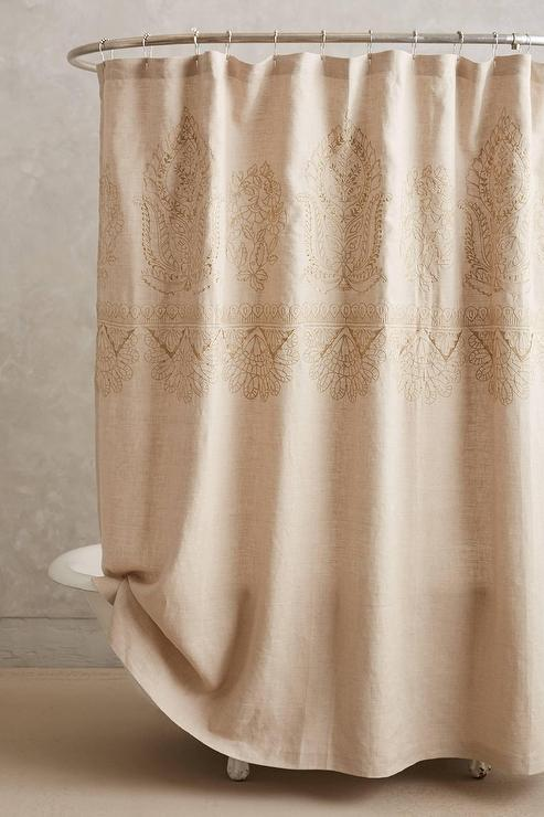 Embroidered Linen Shower Curtain I Anthropologie