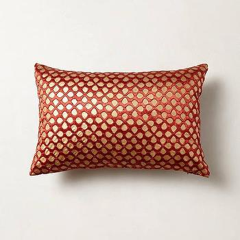 Pillows - Silk-Stitched Floret Pillow I Anthropologie - red and gold pillow, red and gold silk pillow, red and gold lumbar pillow,