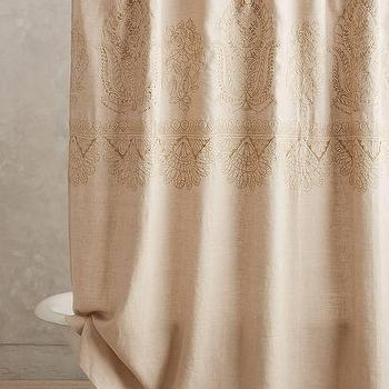 Bath - Embroidered Linen Shower Curtain I Anthropologie - indian embroidered shower curtain, embroidered linen shower curtain, paisley linen shower curtain,