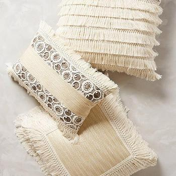 Pillows - Fringed Ivory Pillow I Anthropologie - fringed pillow, fringed ivory pillow, fringed cream pillow,