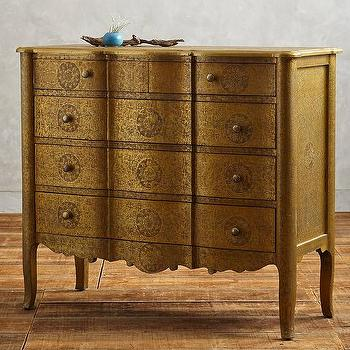 Storage Furniture - Hand-Embossed Dresser I Anthropologie - embossed bronze dresser, embossed metal dresser, bronze dresser,