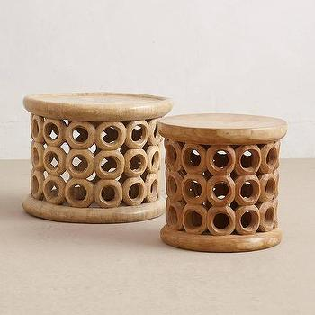 Tables - Bamileke Stool, Circle I Anthropologie - bamileke stool, carved wood stool, african wooden stool, round bamileke stool,