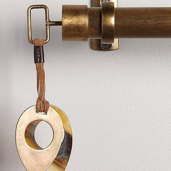 Decor/Accessories - Leather-Latched Horn Finials I Anthropologie - horn finial, horn and brass finial, decorative horn finial,
