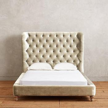 Beds/Headboards - Tufted Wingback Bed I Anthropologie - taupe velvet bed, velvet wingback bed, taupe velvet tufted bed,
