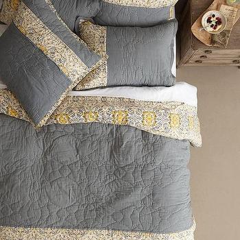 Bedding - Stitched Sitara Quilt I Anthropologie - gray and yellow embroidered quilt, gray and yellow quit, gray and yellow indian bedding, indian print quilt, indian embroidered quilt,