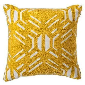 Pillows - Room Essentials Patterned Decorative Pillow - Yellow I Target - yellow embroidered pillow, golden yellow pillow, mustard yellow pillow,