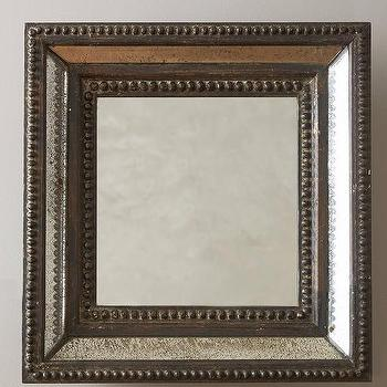 Mirrors - Gentry Mirror I Anthropologie - venetian beaded mirror, square venetian beaded mirror, antiqued beaded mirror,