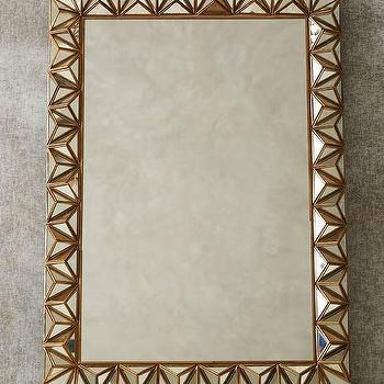 Mirrors - Studded Pyramid Mirror I Anthropolgie - geometric prism mirror, gold geometric mirror, gold faceted mirror,