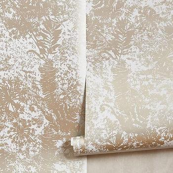 Wallpaper - Shimmered Archive Wallpaper I Anthropologie - metallic silver wallpaper, silver fern frond wallpaper, silver leaf print wallpaper,