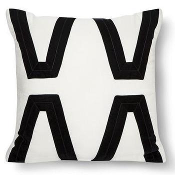 Pillows - Nate Berkus Ivory Velvet Applique Pillow I Target - ivory and black pillow, black applique pillow, velvet applique pillow,