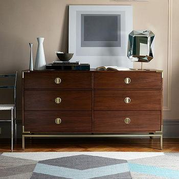Storage Furniture - Malone Campaign 6-Drawer Dresser - Walnut I Target - modern campaign dresser, walnut dresser, modern walnut dresser, walnut dresser with brass hardware, campaign style dresser,