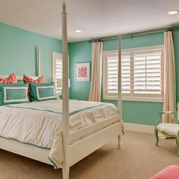 Ivory Homes - girl's rooms - turquoise kids room, turquoise girls room, turquoise girls bedroom, turquoise walls, kids beds, white kids bed, 4 poster bed, white 4 poster bed, white and turquoise bedding, white and turquoise duvet, white and turquoise border bedding, white and turquoise border duvet, turquoise border duvet, turquoise shams, border shams, turquoise border shams, red damask pillows, framed fabric, framed fabric art, fabric art, pink bedside table, round pink table, green chair, green french chair, tall dresser, ivory curtains, red and turquoise rooms, red and turquoise kids room, red and turquoise kids room,