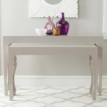 Tables - Beth Lacquer Console in Taupe design by Safavieh I Burke Decor - taupe lacquered console, taupe console table, modern taupe console table,