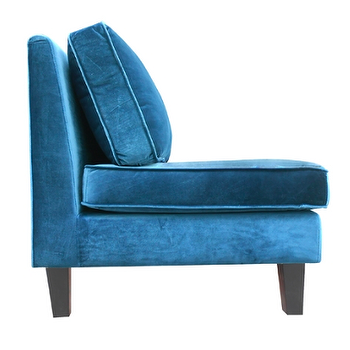 Seating - Valerie Settee design by BD Fine I Burke Decor - teal blue velvet settee, teal settee, armless teal settee,