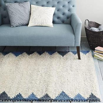 Steven Alan Triangle Edge Wool Shag Rug, Blue Lagoon I West Elm