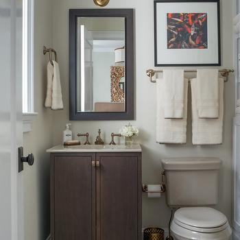 Reu Architects - bathrooms - Benjamin Moore - Tapestry Beige - small bathrooms, chic bathrooms, beige paint colors, tapestry beige, beige bathroom paint colors, mini brick tiles, white mini brick tiles, gray grout, white tiles with gray grout, art over toilet, towel rail over toilet, towel holder over toilet, dark stained washstand, small washstand, brown washstand, brown sink vanity, natural stone countertop, brass double sconce, brass 2 light sconce,