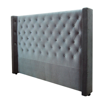 Beds/Headboards - Bren Headboard design by BD Fine I Burke Decor - gray velvet headboard, gray button tufted headboard, tufted velvet headboard, diamond tufted velvet headboard,