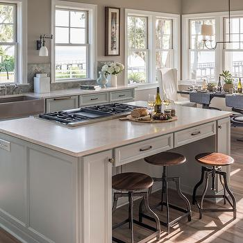 Cream Quartz Countertop, Transitional, kitchen, Benjamin Moore Shale, Reu Architects