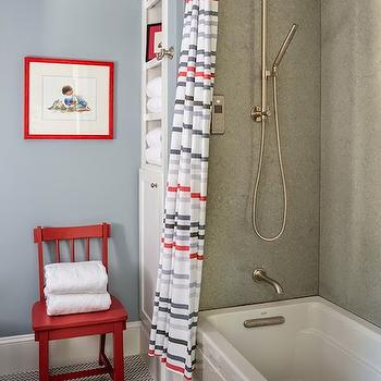 Reu Architects - bathrooms - Benjamin Moore - Santorini Blue - kids bathrooms, nautical bathrooms, kids nautical bathrooms, striped shower curtains, kids shower curtains, gray shower surround, drop in shower, drop in shower ideas, kohler shower head, kohler shower kit, bathroom built ins, vertical builtins, bathroom built in cabinets, red chair, blue paint colors, blue wall paint, herringbone tiles, white herringbone tiles, herringbone floor, herringbone bathroom floor, red and blue bathrooms, red and blue kids bathroom, blue and gray kids bathrooms,