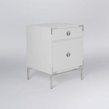 Storage Furniture - Malone Campaign Nightstand - White Lacquer I West Elm - white lacquered campaign nightstand, modern white campaign nightstand, white and nickel campaign nightstand,