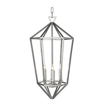 Lighting - Chan Geo Collection Look No.7 Chandelier I Burke Decor - modern silver lantern pendant, angular silver lantern pendant, geometric silver lantern pendant,