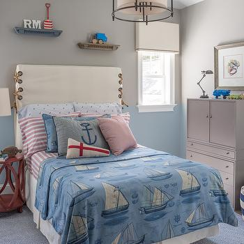 Reu Architects - boy's rooms - Benjamin Moore - Gray Huskie - boys room, boys room ideas, kids rooms, two tone walls, 2 tone walls, two toned walls, kids two tone walls, boys room 2 tone walls, kids room with 2 tone walls, gray paint colors, gray huskie, gray wall paint, blue paint colors, blue wall paint, santorini blue, shelves over bed, kids shelves, over the bed shelves, kids shelves, kids valance, slipcovered bed, kids beds, rope beds, threaded rope beds, nautical beds, kids nautical beds, nautical bedding, kids nautical bedding, sailboat bedding, blue sailboat bedding, kids sailboat bedding, striped sheets, white and red striped sheet se, single nightstand, red bedside table, kids nightstands, iron table lamp, gray cabinet, kids cabinets, gray kids cabinets, striped pouf, navy stripe pouf, kids rugs, diamond rug, blue diamond rug, blue diamond pattern rug, blue diamond pattern rug,