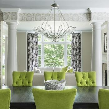 Green Dining Chairs, Contemporary, dining room, Martha O'Hara Interiors