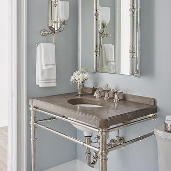 Reu Architects - bathrooms - Benjamin Moore - Silver Gray - kallista washstand, kallista vanity, kallista sink vanity, 2 leg vanity, 2 leg sink vanity, 2 leg washstand, gray countertops, gray stone countertops, folding vanity mirror, arched vanity mirror, arched folding mirror, arched folding vanity mirror, white glass sconce, marble floor, silver gray paint colors, silver gray wall paint, silver gray bathroom colors, silver gray bathroom paint colors,