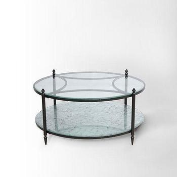 Tables - Mirrored Base Coffee Table I West Elm - round mirror based coffee table, round antiqued mirror coffee table, mirror and glass coffee table,