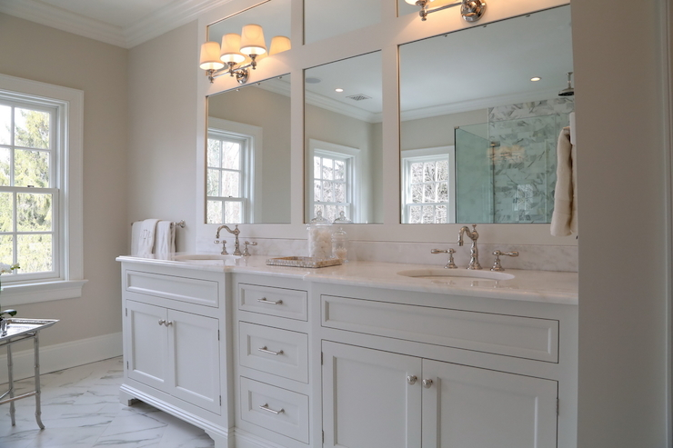 Ciuffo Cabinetry - bathrooms - Lugarno Triple Sconce, master bathrooms, white master bathrooms, triple sconces, triple bath sconces, triple bathroom wall light, white dual vanity, white double vanity, white double washstand, his and her sinks, framed vanity mirrors, white marble floor,