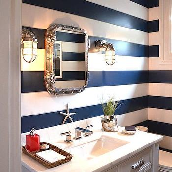 Ciuffo Cabinetry - bathrooms - horizontal striped walls, navy striped walls, white and navy walls, white and navy stripe walls, white and navy striped walls, navy stripe walls, striped bathroom walls, striped powder rooms walls, horizontal navy striped walls, rivet mirror, rivets mirror, marine sconces, nautical powder room, nautical powder room ideas, white washstand, single washstand, white single washstand, italian marble, italian marble countertop, beachy accents, beachy bathroom accents,
