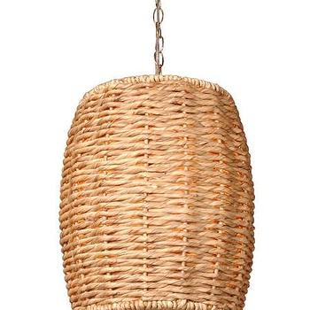 Lighting - Water Hyacinth Stool Pendant Light design by Emissary I Burke Decor - barrel shaped woven pendant, water hyacinth pendant lighting, barrel shaped water hyacinth pendant,