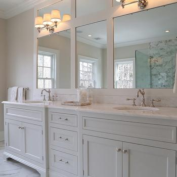 Ciuffo Cabinetry - bathrooms - master bathrooms, white master bathrooms, triple sconces, triple bath sconces, triple bathroom wall light, white dual vanity, white double vanity, white double washstand, his and her sinks, framed vanity mirrors, white marble floor,