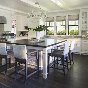 Grey subway tiles contemporary kitchen martha o 39 hara for Square kitchen designs with island