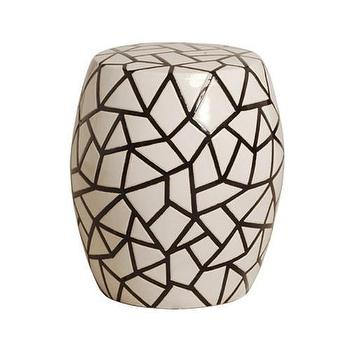 Seating - Ice Ray Garden Stool in Black & White design by Emissary I Burke Decor - black and white garden stool, black and white geometric garden stool, modern black and white garden stool,