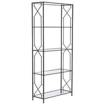 Storage Furniture - Wilton Etagere w/ Glass Shelves in Black design by Emissary I Burke Decor - steel and glass etagere, geometric steel etagere, metal and glass etagere,