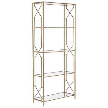 Storage Furniture - Wilton Etagere w/ Glass Shelves in Gold design by Emissary I Burke Decor - gold geometric etagere. gold metal etagere, geometric gold and glass etagere, modern gold etagere,