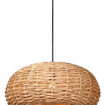Lighting - Shallow Round Hyacinth Pendant Light design by Emissary I Burke Decor - woven round pendant, woven water hyacinth pendant, water hyacinth pendant light,