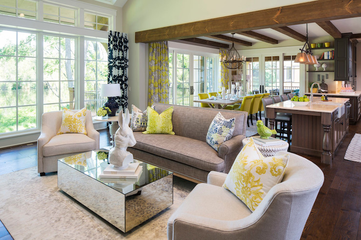 Mirrored Coffee Table Contemporary Living Room