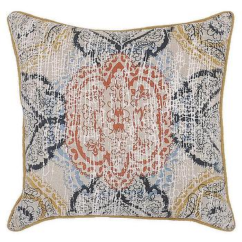 Pillows - Laudine Mustard Pillow design by Villa Home I Burke Decor - blue and orange medallion pillow, blue and orange patterned pillow, blue orange and mustard pillow,