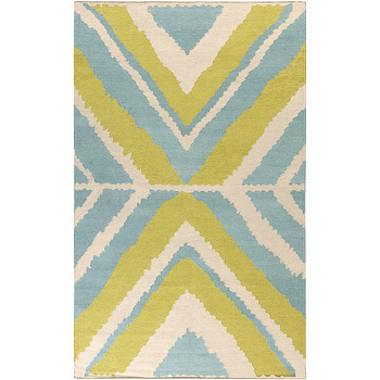 Rugs - Alameda Ivory, Lime, & Teal Rug design by Beth Lacefield I Burke Decor - lime green and blue rug, modern lime green and blue rug, lime blue and ivory rug, geometric green and blue rug,