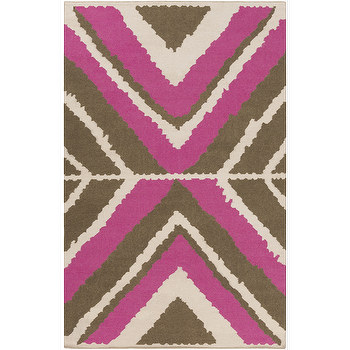 Rugs - Alameda Ivory, Hot Pink, & Olive Rug design by Beth Lacefield I Burke Decor - hot pink and brown rug, hot pink and brown geometric rug, modern hot pink and brown rug,
