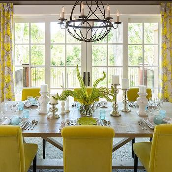 Yellow Dining Chairs, Transitional, dining room, Sherwin Williams Wool Skein, Martha O'Hara Interiors