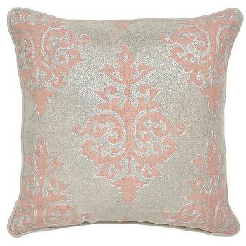 Pillows - Sophie Apricot Pillow design by Villa Home I Burke Decor - pink and silver pillow, blush pink and silver pillow, silver and pink damask pillow,