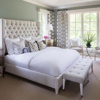 Gray Green Paint Colors, Transitional, bedroom, Benjamin Moore Iced Marble, Martha O'Hara Interiors