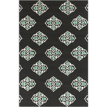 Rugs - Storm Black, Ivory, & Teal Rug design by Surya I Burke Decor - black ivory and teal rug, black and teal medallion rug, modern black and teal rug,