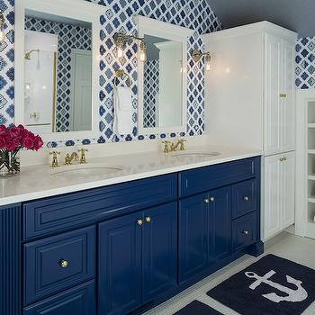 Blue Vanity, Contemporary, bathroom, Benjamin Moore Down Pour Blue, Martha O'Hara Interiors