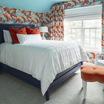Navy Bed, bedroom, Benjamin Moore Pool Blue, Martha O'Hara Interiors