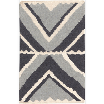 Rugs - Alameda Ivory, Light Grey, & Navy Rug design by Beth Lacefield I Burke Decor - modern navy and gray rug, navy and gray geometric rug, navy gray and ivory rug,