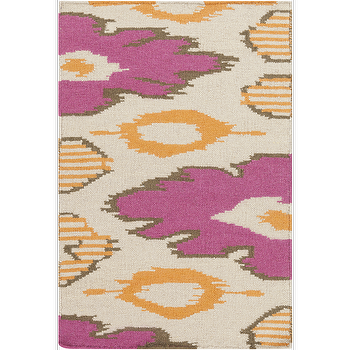Rugs - Alameda Hot Pink, Ivory, & Tangerine Rug design by Beth Lacefield I Burke Decor - hot pink and orange rug, modern hot pink and orange rug, hot pink and tangerine rug,